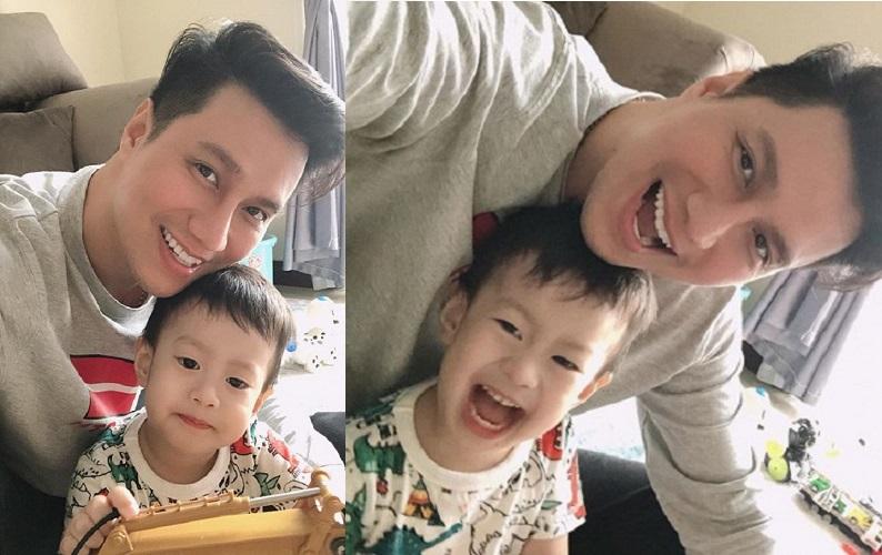 Kết quả hình ảnh cho Khoảnh khắc Việt Anh bên con trai